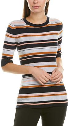 Lafayette 148 New York Striped Rib Silk-Blend Sweater