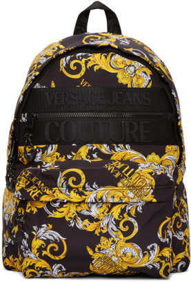 Versace Black and Gold Barocco Logo Backpack