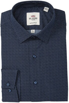 Ben Sherman Dot Printed Oxford Tailored Slim Fit Dress Shirt