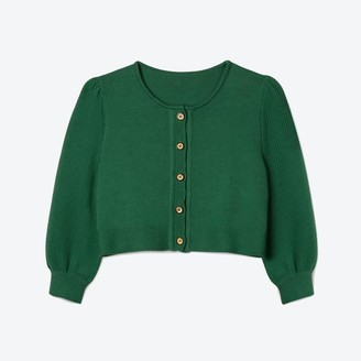 Lowie Green Bell Sleeve Cropped Cardigan - S
