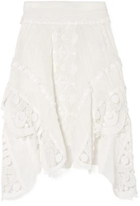Chloé Asymmetric Guipure Lace-trimmed Linen Skirt
