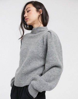 Weekday Sadie puff sleeve jumper in grey