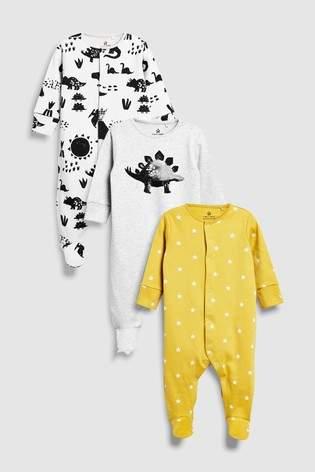 Next Boys Monochrome/Mustard Dino Character Sleepsuits Three Pack (0mths-2yrs)