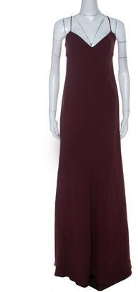 Valentino Burgundy Crepe Knit Plunge Neck Strappy Evening Gown L
