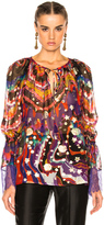 Roberto Cavalli Printed Woven Blouse in Abstract,Metallics,Purple,Red.