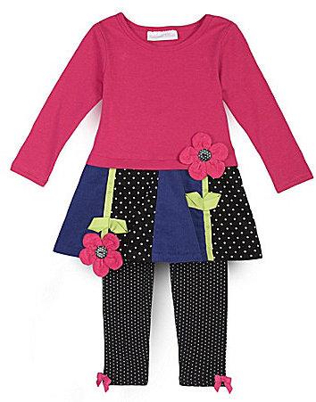 Bonnie Baby Infant Corduroy Flower Dress & Solid Leggings Set