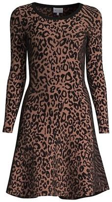 Milly Leopard-Print Knit Dress