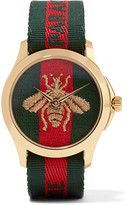Gucci Canvas And Gold-tone Watch - one size