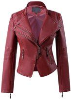 CLJJ7 Women's Short Motocycle PU Leather Jacket