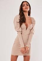 Missguided Sand Milkmaid V Bar Mini Dress