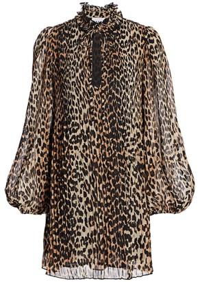 Ganni Georgette Leopard Mini Shirtdress