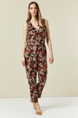 Wallis Black Floral Print Ruffle Jumpsuit