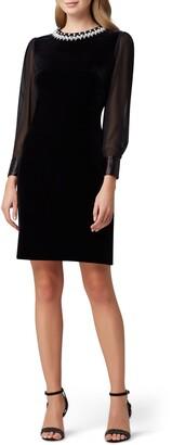 Tahari Long Sleeve Stretch Velvet Cocktail Dress