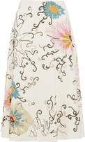 Valentino Embellished Embroidered Wool And Silk-blend Midi Skirt
