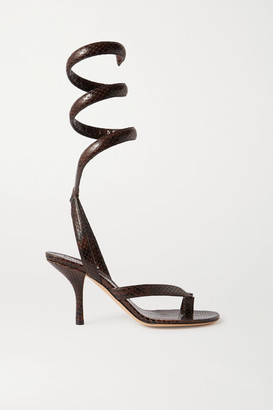 Bottega Veneta Snake-effect Leather Sandals - Brown