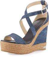 Jimmy Choo Portia Denim Platform Wedge Sandal, Navy