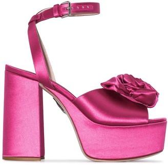 Miu Miu Rose-Embellished Platform Sandals