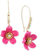 Betsey Johnson Gold-Tone Crystal Pink Flower Drop Earrings