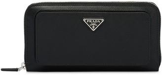 Prada Zip-Around Logo Patch Wallet