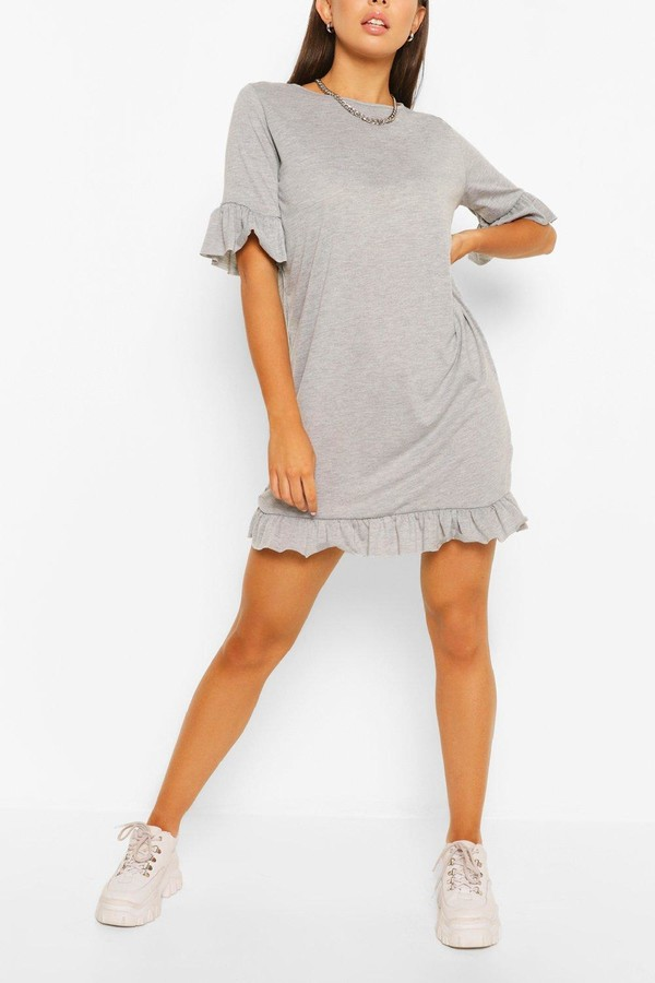 Thumbnail for your product : boohoo Ruffle Detail Jersey Shift Dress