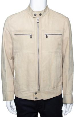 HUGO BOSS Boss By Beige Suede Zip Front Calen Jacket XL