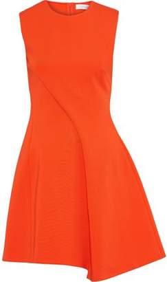 Victoria Beckham Asymmetric Pleated Ponte Mini Dress