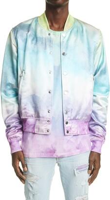 Amiri Watercolor Satin Bomber Jacket