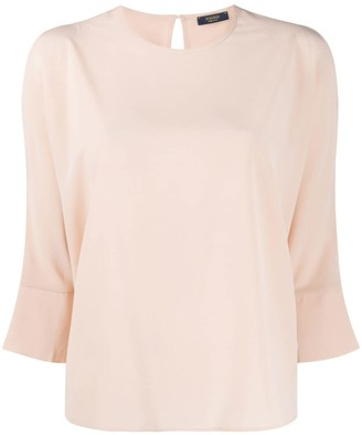 Peserico cut-out detail cropped sleeve blouse