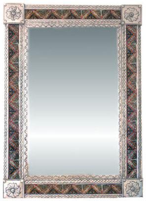 Fine Crafts & Imports Big Silver Morelia Tile Talavera Tin Mirror