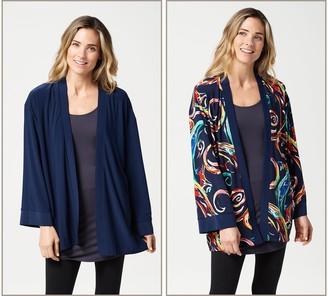 Women With Control Attitudes by Renee Como Jersey Renee's Reversibles Kimono Jacket