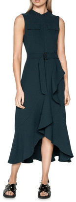 Cue Belted Crepe Midi Dress