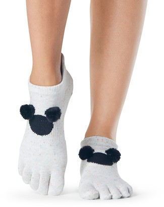 Toesox Pompom Low Rise Full-Toe Grip Socks