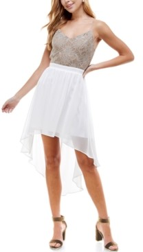 City Studios Juniors' Lace & Chiffon High-Low Dress