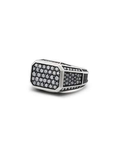 David Yurman Pave Signet Ring with Black Diamonds