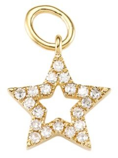 Ef Collection 14K Yellow Gold & Diamond Open Star Single Earring Charm