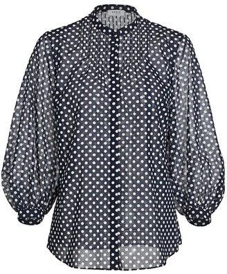 Akris Punto Polka Dot Puff-Sleeve Cotton Blouse