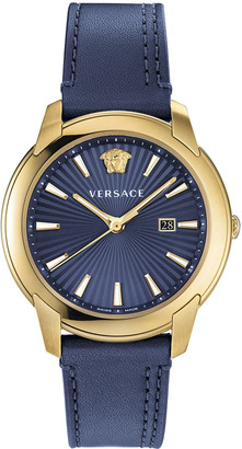 Versace Men's 42mm Urban Leather Watch, Blue