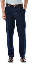 Haggar Big & Tall Work to Weekend Classic-Fit Pleated Denim Pants