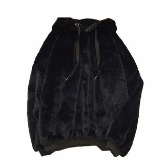 Tammy Yerke Womens Sweatshirt Casual Loose Fuzzy Fluffy Velvet Sweater Autumn Winter Warm Long Sleeve Fleece Hoodie Drawstring Pullover Jumpers Outwear Coat for Ladies Female Oversize Top Black