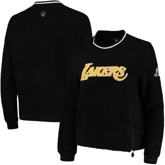 Women's Black Los Angeles Lakers Sherpa Pullover Jacket with Zipper Detail