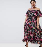 Asos DESIGN Curve bardot midi dress in floral print