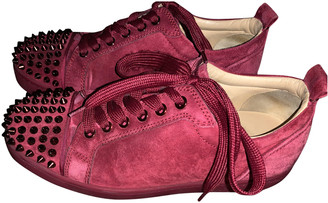 Christian Louboutin Louis junior spike Burgundy Leather Trainers