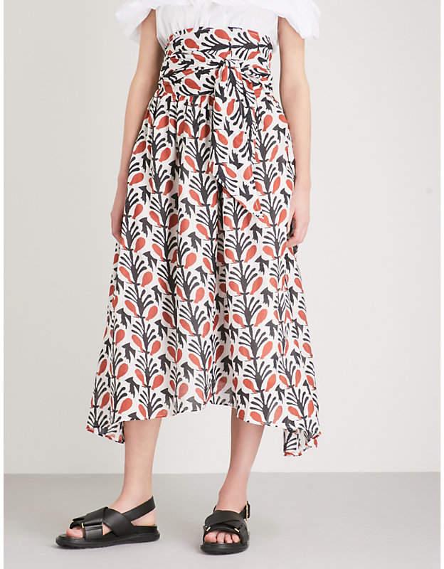 Apiece Apart Cosmo cotton and silk-blend midi skirt