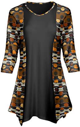 Lily Women's Tunics BRN - Brown & Black Geometric Contrast-Panel Handkerchief Tunic - Women & Plus