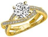 Houston Diamond District 2.29 Carat t.w. 14K Yellow Gold Round Eternity Love Criss Cross Twisting Split Shank Diamond Engagement Ring I1
