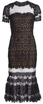 Jonathan Simkhai Women's Guipure Illusion Lace Midi Dress - Black - Size 0