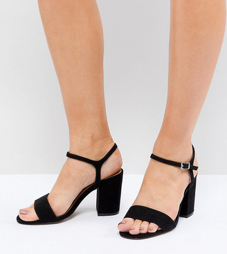 Asos Design DESIGN Winter Extra Wide Fit Block Heeled Sandals