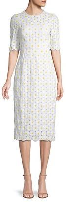 Dolce & Gabbana Floral Embroidery Elbow-Sleeve Sheath Dress