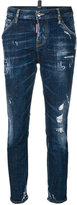DSQUARED2 cropped Cool Girl jeans - women - Cotton/Calf Leather/Polyester/Spandex/Elastane - 36