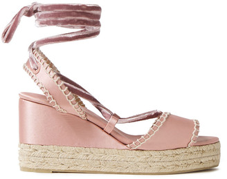 Castaner Velvet-trimmed Satin Wedge Espadrille Sandals